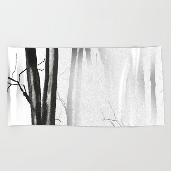 wood, snow and fog Beach Towel