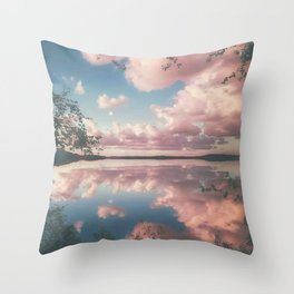 Lake and Pink Clouds Throw Pillow