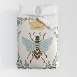 Queen Bee with Gold Crown and Laurel Frame Comforters