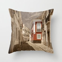 Sepia treatment of a cobbled street, Portugal Throw Pillow