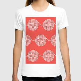 Yacht style. Rope spirals. Red. T-shirt