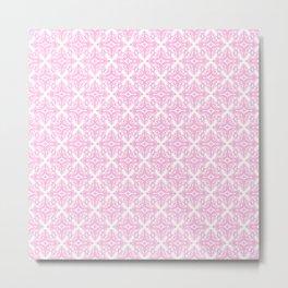 Damask (Pink & White Pattern) Metal Print
