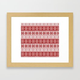 Red Winter Fair Isle Pattern Framed Art Print