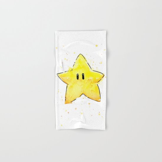 Invincibility Star Mario Watercolor Geek Gamer Art Hand & Bath Towel