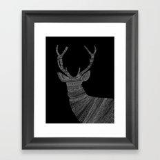 Stag / Deer (On Black) Framed Art Print