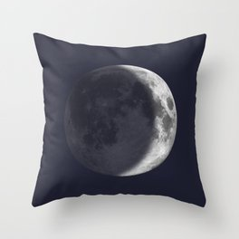 Waxing Crescent Moon on Navy Throw Pillow