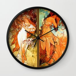 Art Nouveau Mucha Four Seasons Wall Clock