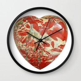 Big Red Jasper Heart - Side 1 Wall Clock