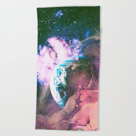 Space Earth Watercolor Beach Towel
