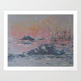 Sunset on the Okavango: Hippo Pond Art Print