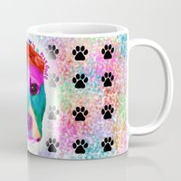 pit bull Mugs featuring Love is a pit bull by Shay by design