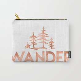WANDER Rose Gold Trees on Black Carry-All Pouch