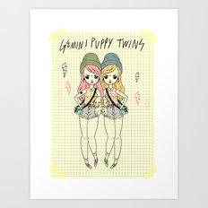 Gemini Puppy Twins Art Print