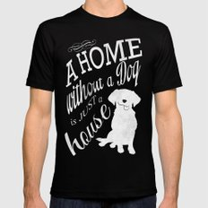 Home with Dog Black Mens Fitted Tee MEDIUM