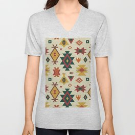 Autumn Kilim No. 1 in Ecru Unisex V-Neck