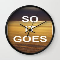 vonnegut Wall Clocks featuring Kurt Vonnegut - So It Goes - typography Word Art Print - inspirational quotes by BEANLAND
