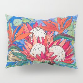 Tropical Protea Bouquet with Toucans in Greek Horse Urn on Ultramarine Blue Pillow Sham