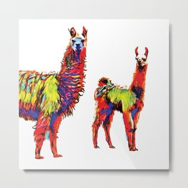 Electric Llamas Metal Print