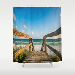 Head to the Beach - Boardwalk Leads to Summer Fun in Florida Shower Curtain