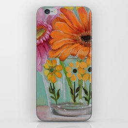 Gerber Daisy Retro Glass Painting iPhone Skin