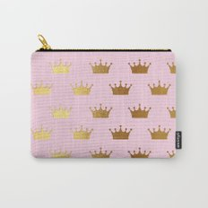 Gold Glitter effect crowns on pink - Royal Pattern for Princesses on #Society6 Carry-All Pouch