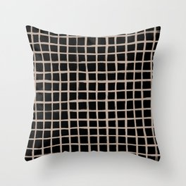 Strokes Grid - Nude on Black Throw Pillow