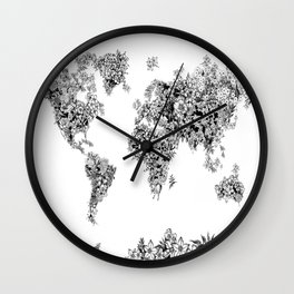 floral world map black and white Wall Clock