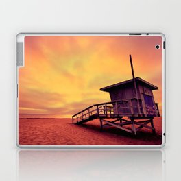 Lifeguard tower at sunset at Hermosa Beach, California Laptop & iPad Skin