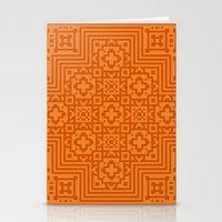 orange pattern Stationery Cards featuring Orange Pattern by Timothy M. LeBlanc