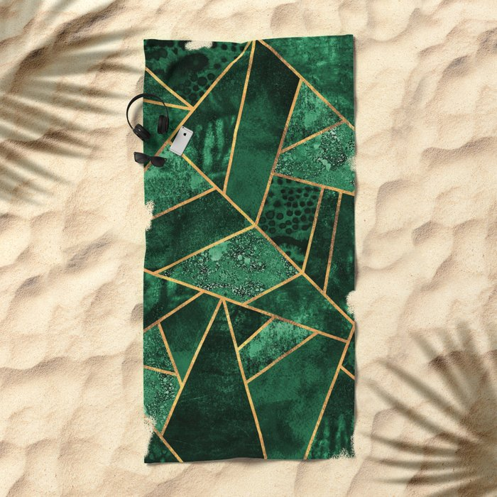 Deep Emerald Beach Towel