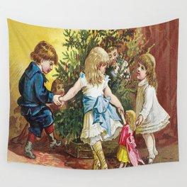 Vintage Christmas Card 1880 Julekort Wall Tapestry