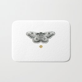 Perseverance - Moth Graphite Drawing by Brooke Figer Bath Mat