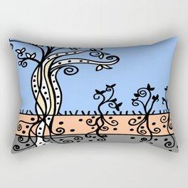 Strong Roots - Blue Mustard Yellow Rectangular Pillow