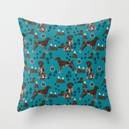 German Shorthair Pointer mountain hiking hiker outdoors camping dog breed Throw Pillow