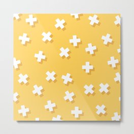 Modern Swiss Cross Yellow Metal Print