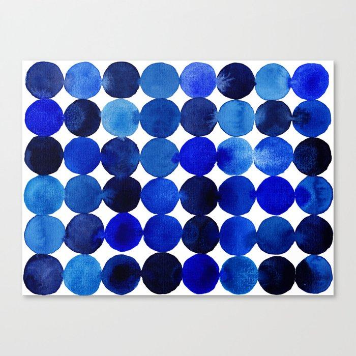 Blue Circles in Watercolor Leinwanddruck