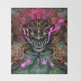 Japanese Dragon Mask Throw Blanket