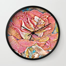 Pretty Red Rose Bloomed Art Wall Clock