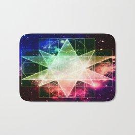 Rainbow Galaxy Sacred Geometry : Stellated Icoshadron Bath Mat