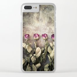 Five dried roses Clear iPhone Case