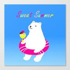Sweet Summer Polar Bear Canvas Print