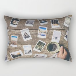 Photo prints on the table Rectangular Pillow