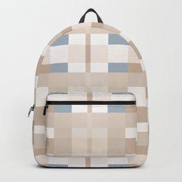 Beige and Blue Color Blocks Geometric Pattern Backpack