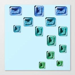 Emerald-cut Gemstones Pattern | Seafoam Canvas Print
