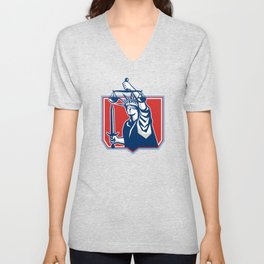 Statue of Liberty Wielding Sword Scales Justice Unisex V-Neck