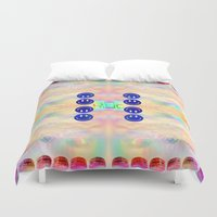 kit king Duvet Covers featuring KIT CAT by Riot Clothing