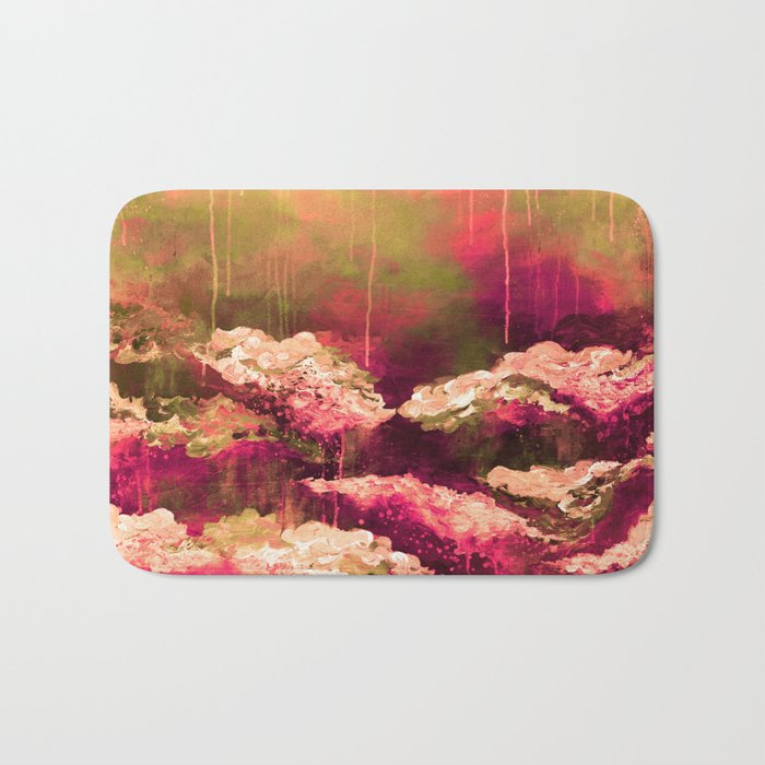 IT'S A ROSE COLORED LIFE 2 - Colorful Floral Garden Chic Abstract Pink White Olive Green Painting Bath Mat