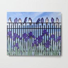 purple martins & purple irises Metal Print