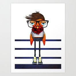 Hipster Bird Art Print