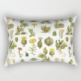 Antique Vintage Botanical Cacti Illustration Print Rectangular Pillow